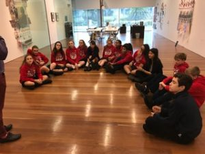 8th Graders listening intently to the docent at the deYoung!