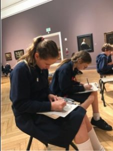6th graders hard at work in the gallery at the Legion of Honor