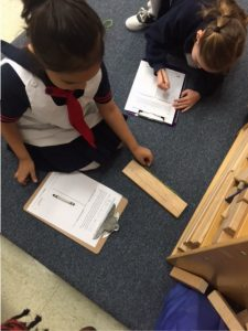 Measuring items in the classroom.
